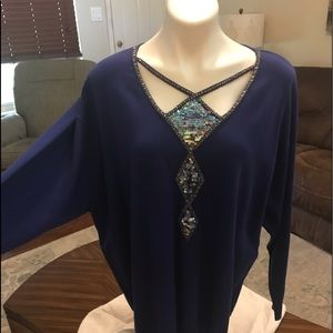 NWT Bob mackie diamond cutout embellished tunic